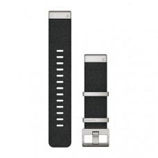 Garmin Ремешок сменный QuickFit 22 мм (жаккардовый) черный с серебристой застёжкой