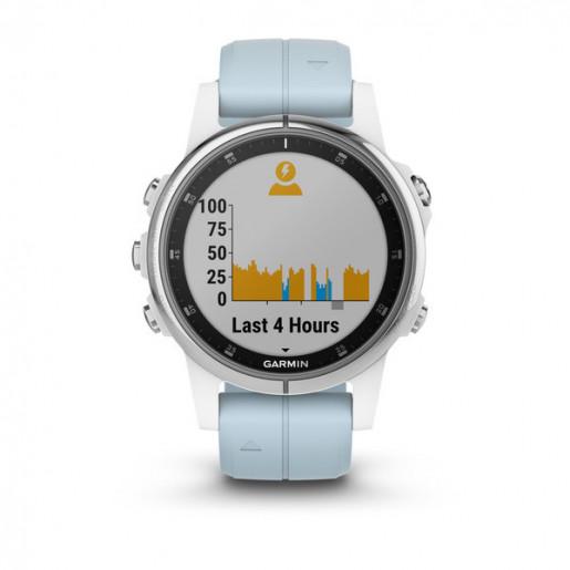 Часы Garmin Fenix 5S Plus белые с голубым ремешком