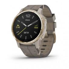 Часы Garmin Fenix 6S Sapphire золотистый с серым кожаным ремешком