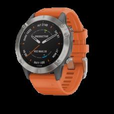 Часы Garmin Fenix 6 Sapphire титановый с оранжевым ремешком