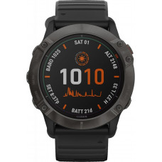 Часы Garmin Fenix 6X Pro Solar титановый серый DLC с черным ремешком