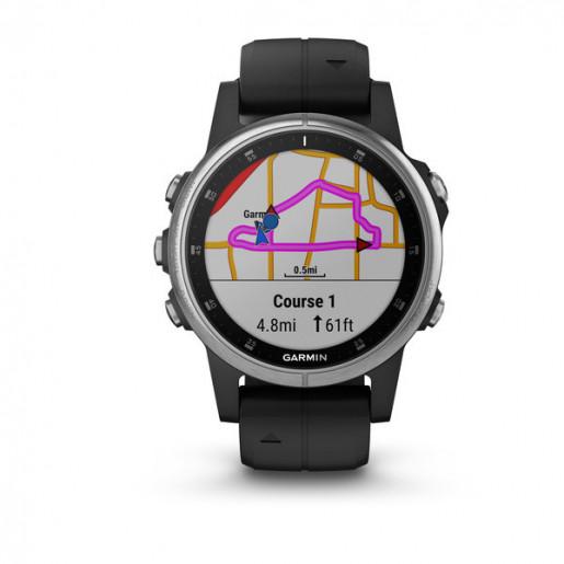 Часы Garmin Fenix 5S Plus серебристый с черным ремешком