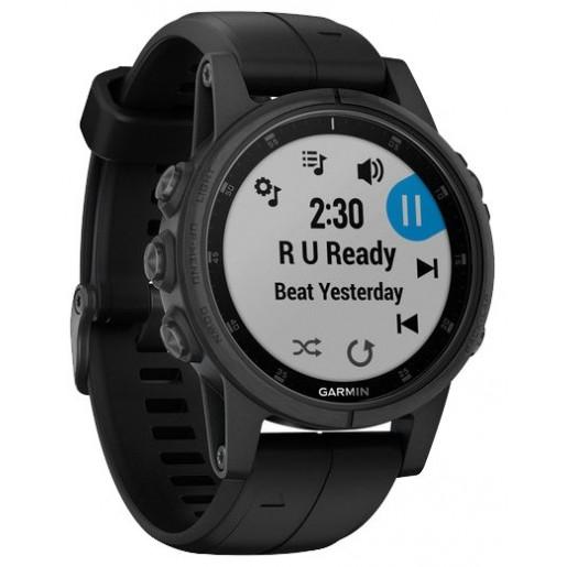 Часы Garmin Fenix 5S  plus sapphire черные с черным ремешком