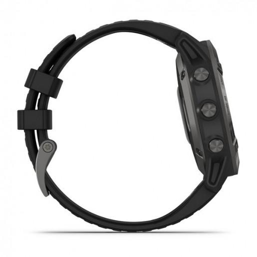 Часы Garmin Fenix 6 Sapphire серый с черным ремешком