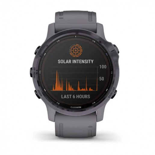 Часы Garmin Fenix 6s Pro Solar аметистовый с темно-серым ремешком