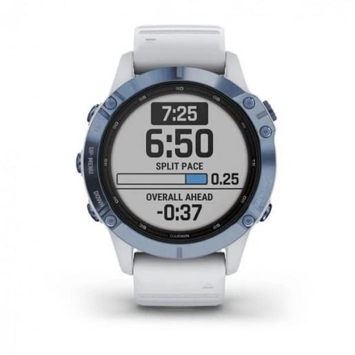 Часы Garmin Fenix 6 Pro Solar синий минерал с белым ремешком