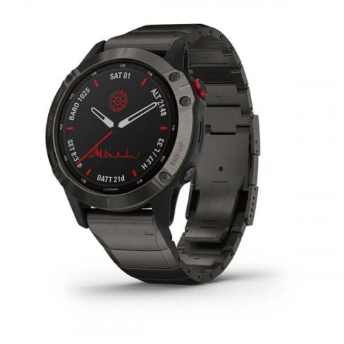 Часы Garmin Fenix 6 Pro Solar титановый DLC карбон с DLC титановым ремешком