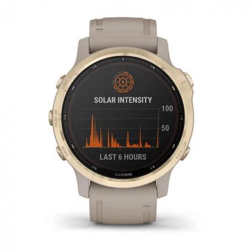 Часы Garmin Fenix 6s Pro Solar золотистый с песочным ремешком