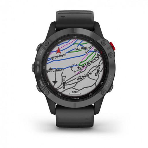 Часы Garmin Fenix 6 Pro Solar серый с черным ремешком