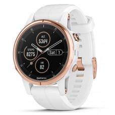 Часы Garmin Fenix 5S plus sapphire  розовое золото с белым ремешком