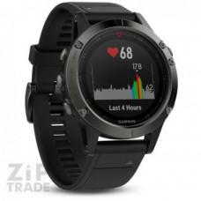 Часы Garmin Fenix 5 серые с черным ремешком