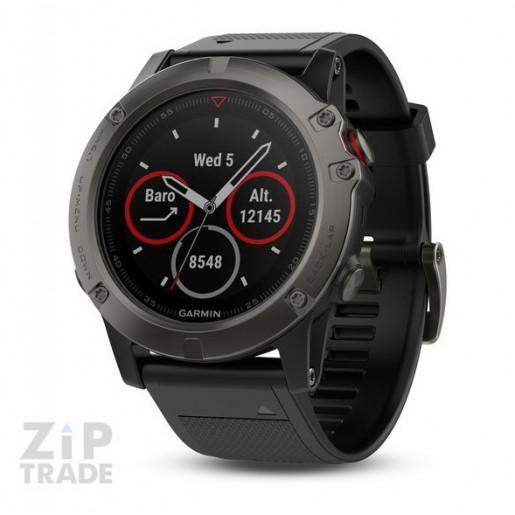 Часы Garmin Fenix 5X Sapphire серые с черным ремешком