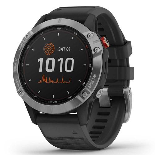 Часы Garmin Fenix 6 Solar серебристый с черным ремешком